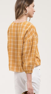 Mustard Plaid Ballon Sleeve Blouse