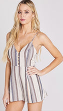 Taupe Striped Sleeveless Romper