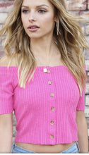 Pink Off The Shoulder Cropped Top