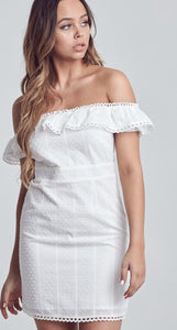 White Ruffled Off The Shoulder Dress