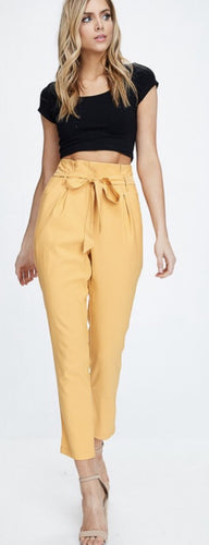 Mustard High Waisted Paper bag Pants