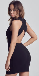 Black Crossed Back Bodycon Dress