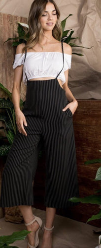 Black & White Striped Overalls
