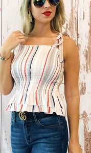 Ivory Striped Tank Top