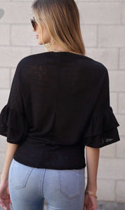 Black Ruffle Sleeve Top