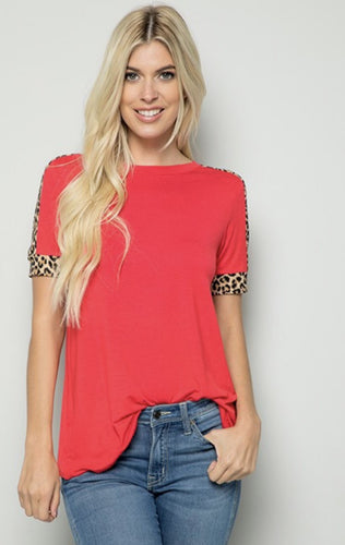 Red Leopard Lined Sleeve Top