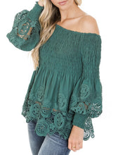 Teal Lace Detail Off The Shoulder Top