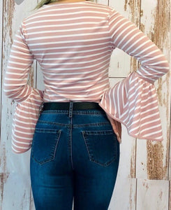 Pink Striped Bell Sleeve Top