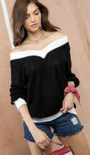 Black with White V Neck Knit Top