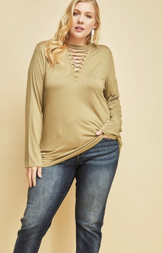 Plus Size Mock Neck Sage Top