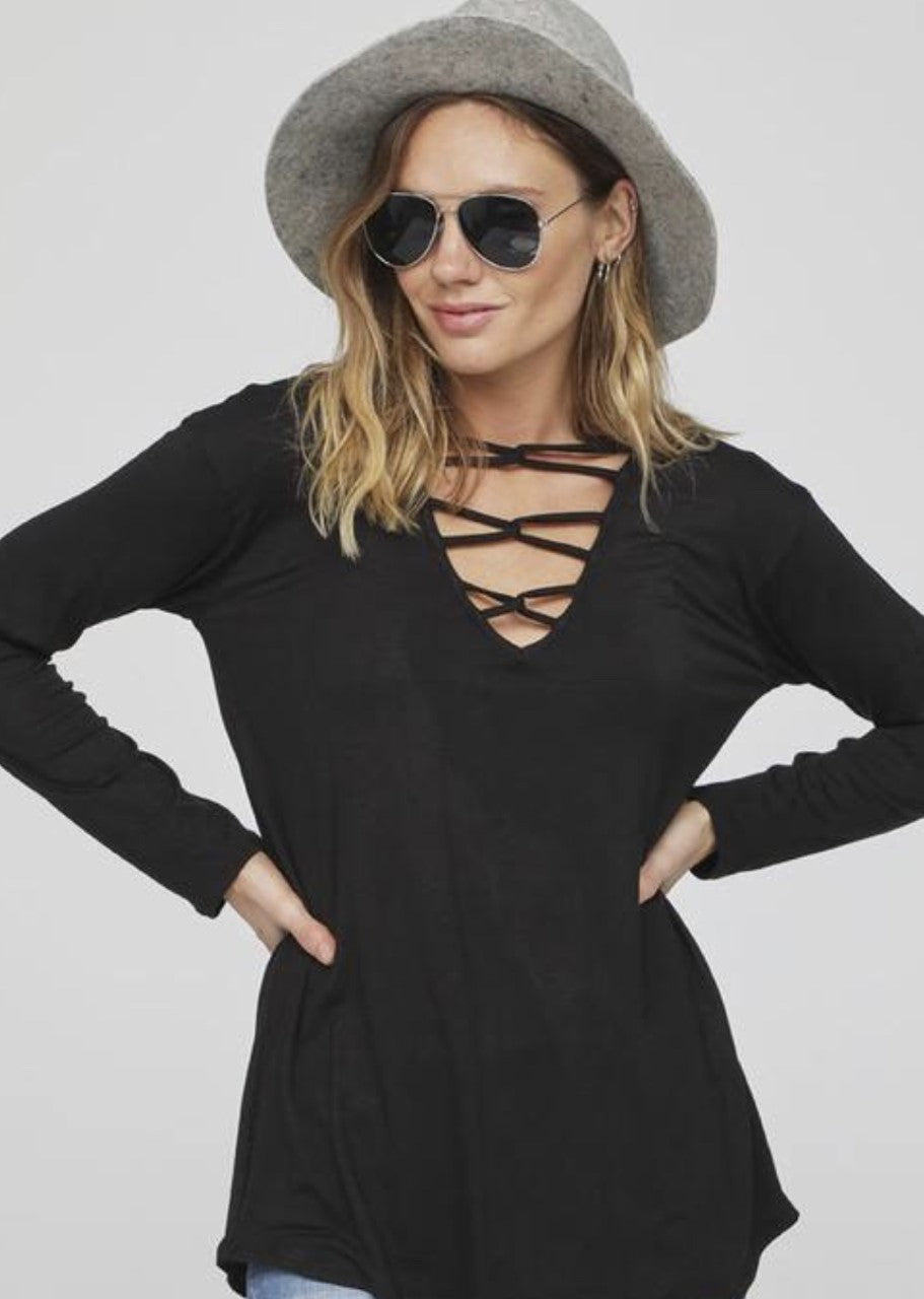 Black Caged Long Sleeve Top