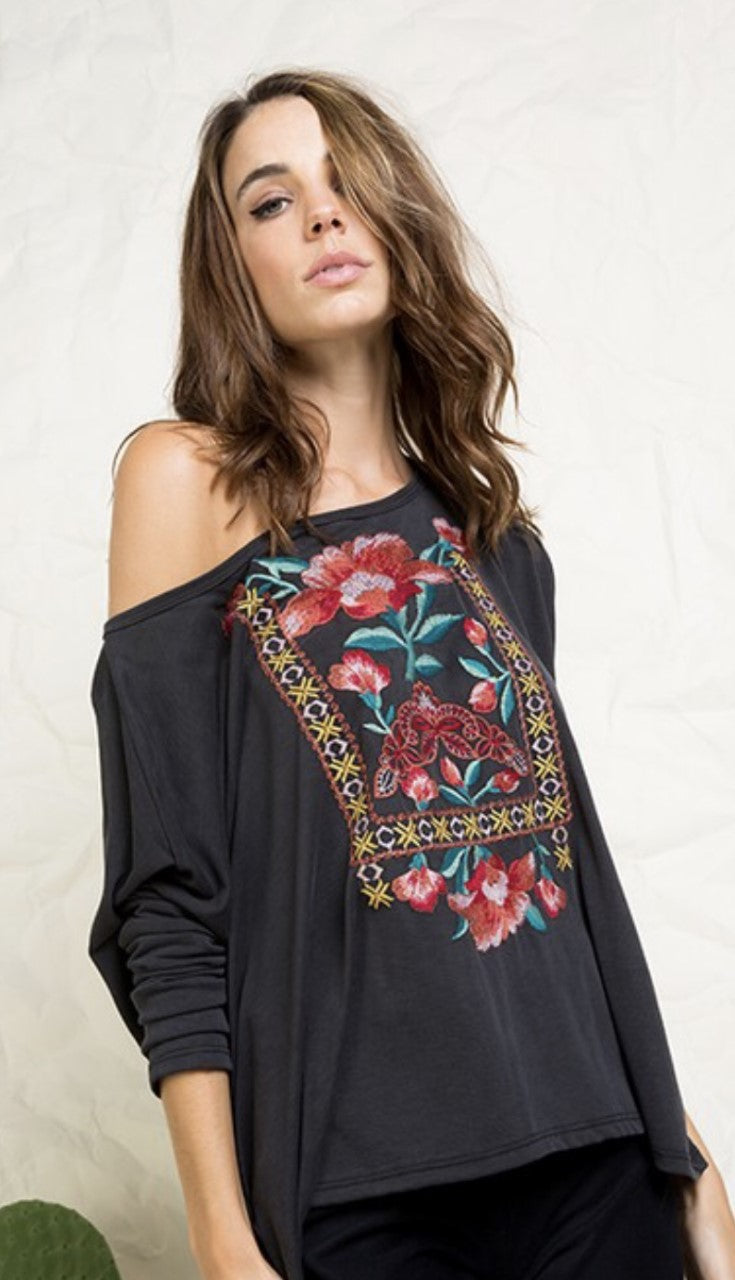 Charcoal Grey Floral Detailed Top