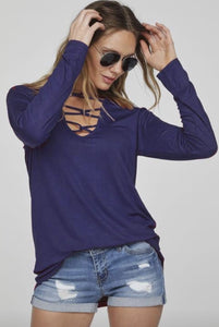 Navy Caged Long Sleeve Top