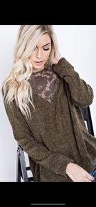 Olive Lace V Neck Sweater