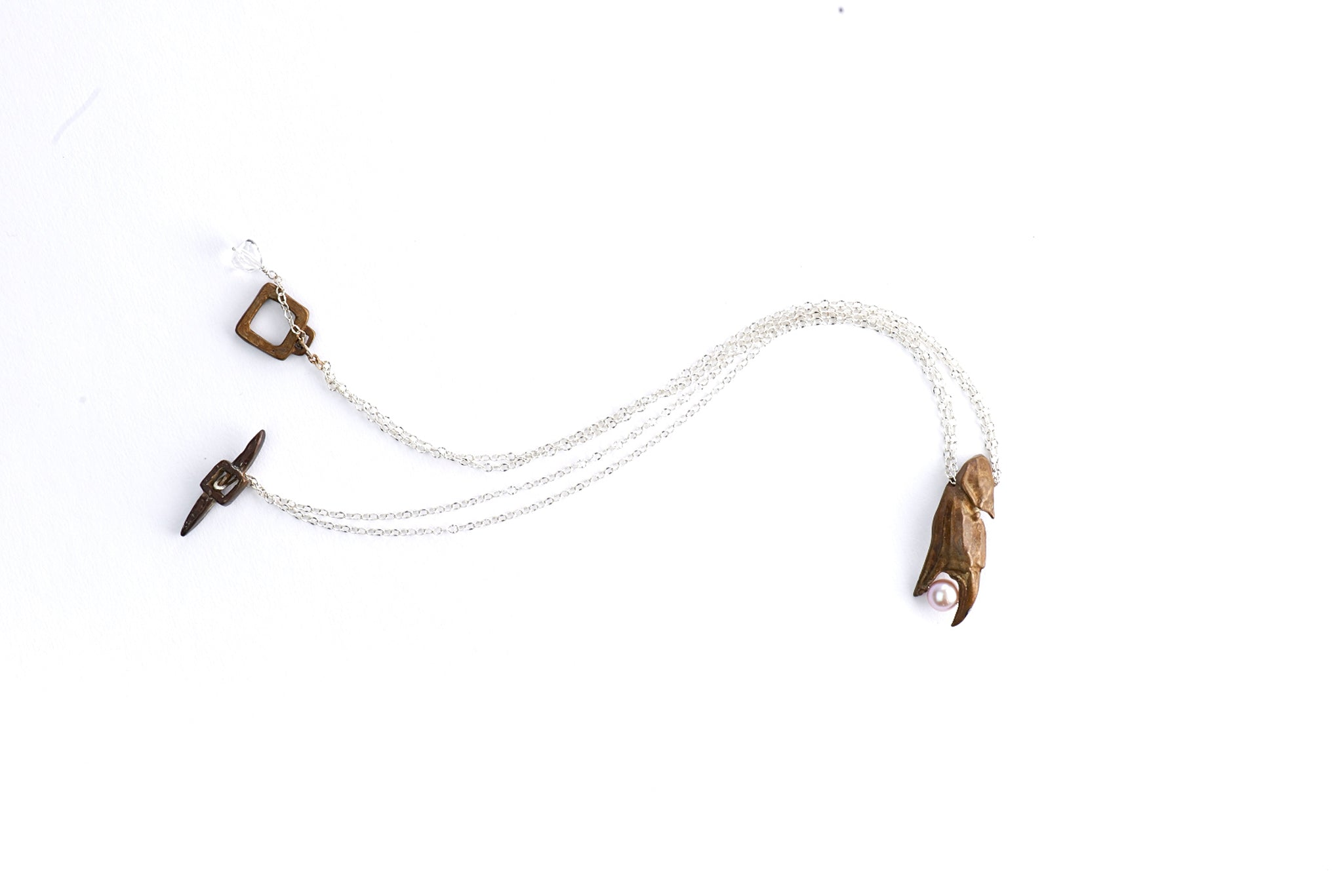 Open Crab Claw Pendant with Pearl