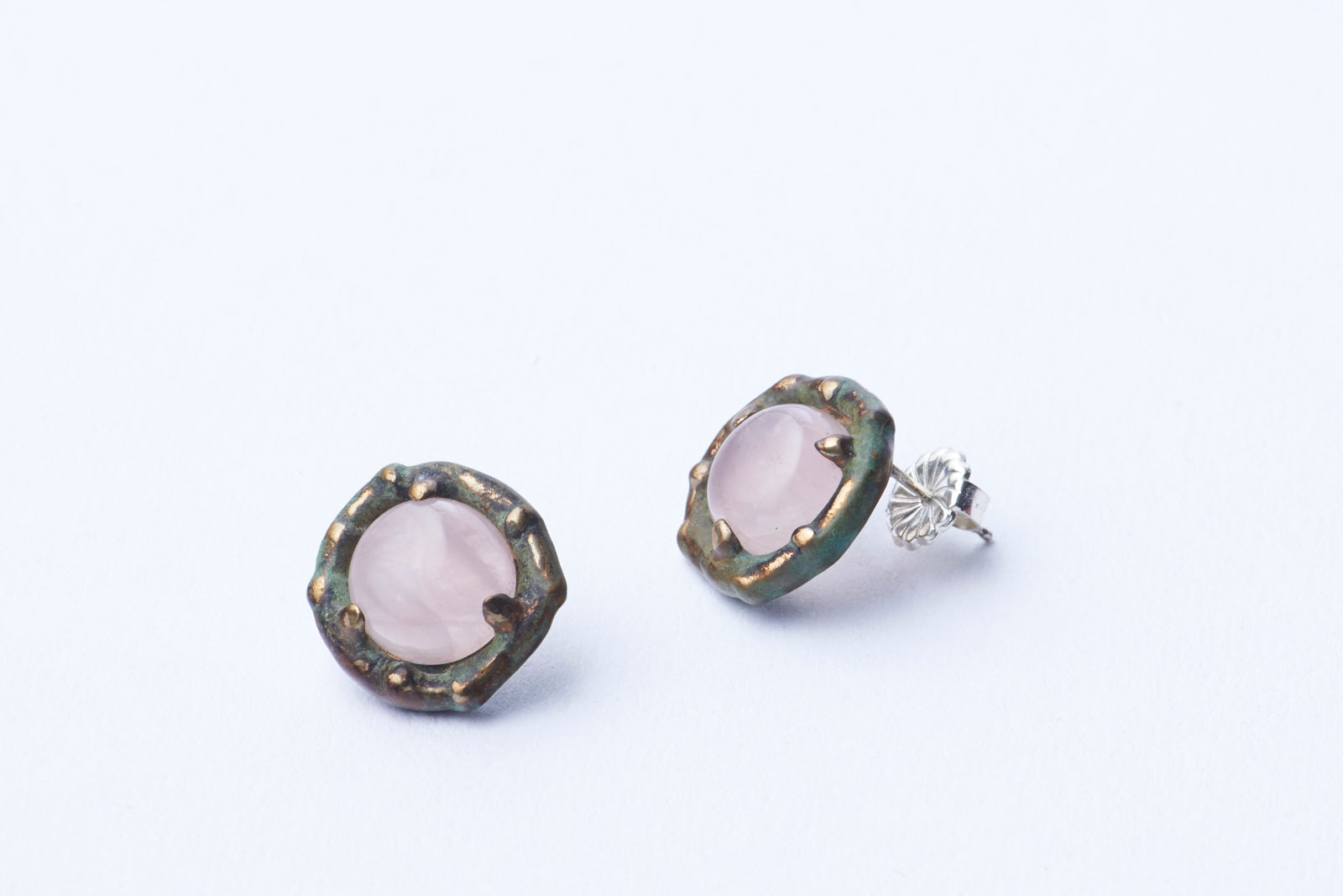 Edamame Retro Earrings in Rose Quartz and Green Jade