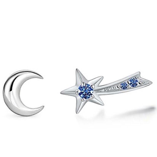 ACCESSORY/shooting Star + Moon Studs/Silver+Blue stone
