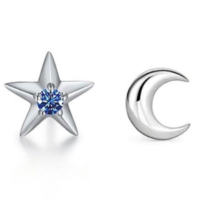 ACCESSORY/Star + Moon Studs/Silver+Blue Stone