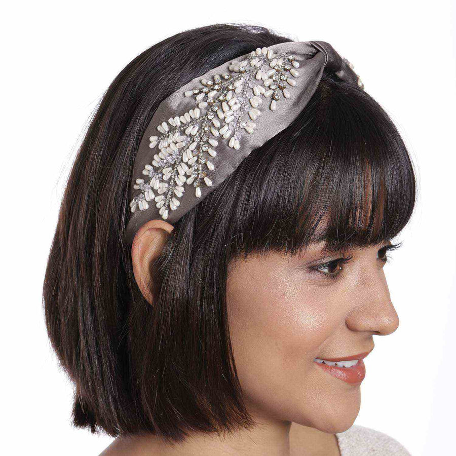 Betty Cooper In Grey Satin with Intricate Veil Embroidery Headband