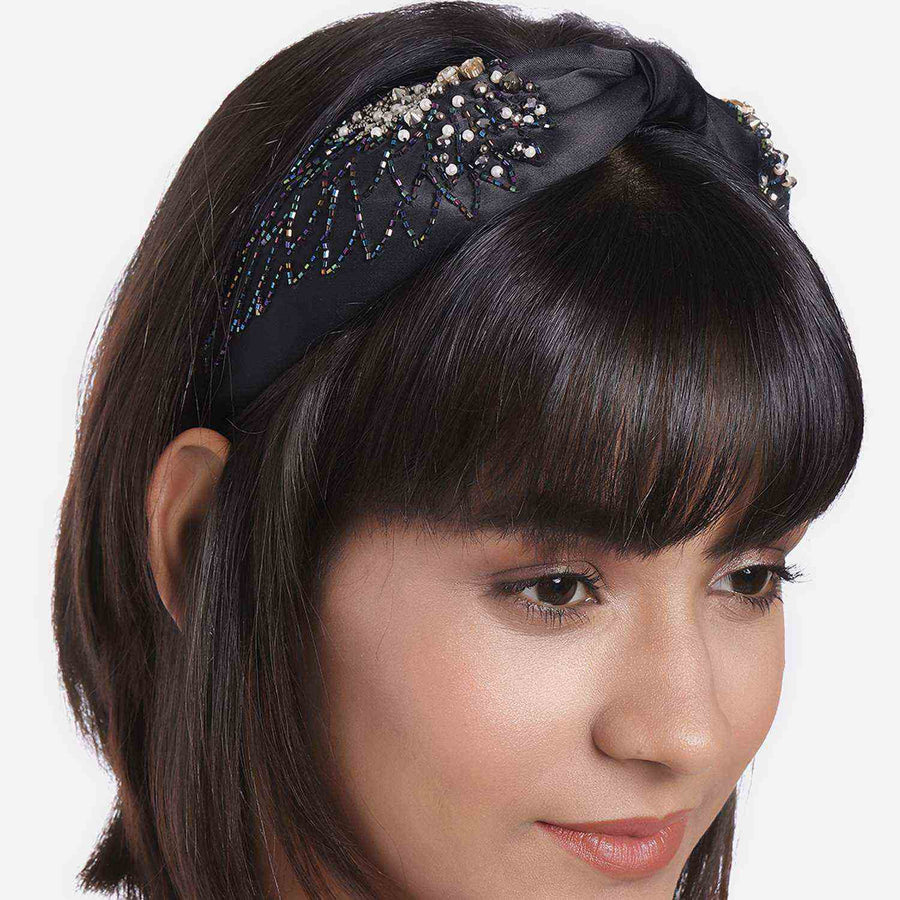 Betty Cooper In Black Satin with Intricate Angel Wings Embroidery Headband