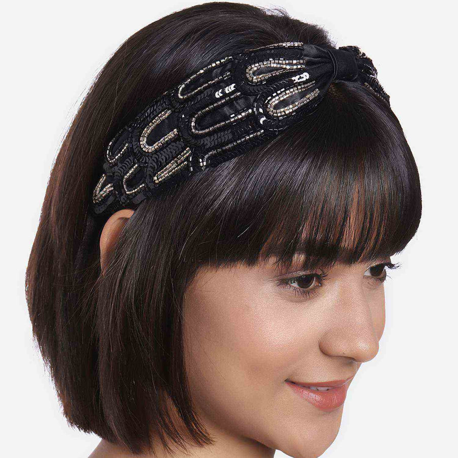 Betty Cooper In Black Satin with Intricate Scallop Embroidery Headband