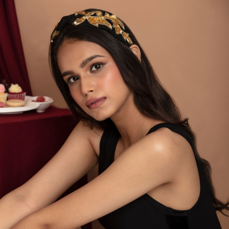Betty Cooper In Black Silk with Intricate Leaf Embroidery Headband
