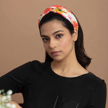 Marvellous Mrs. Maisel in Hand Painted Floral Print Crepe Headband