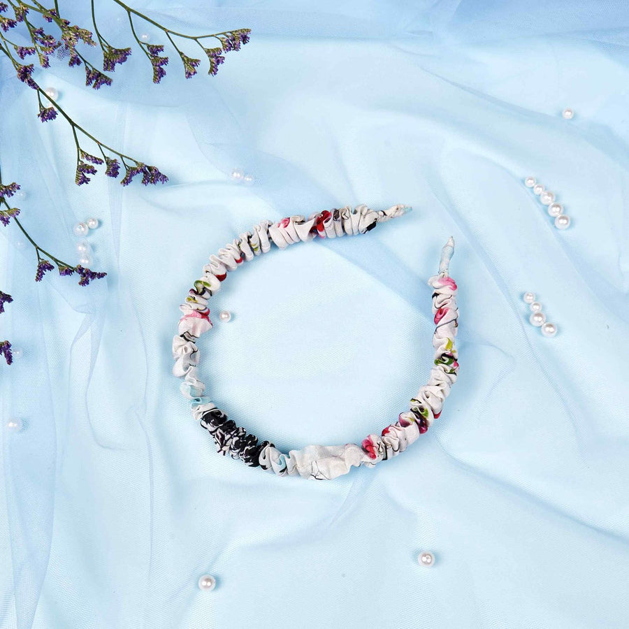 Emily in White Icy Bloom Crepe Headband