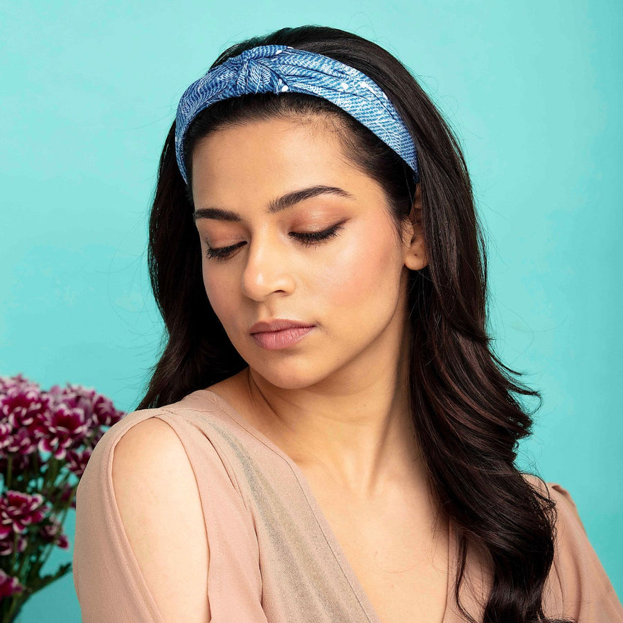 Blair in Blue Floral Print Cotton Headband