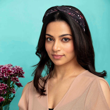 Veronica in Black Floral Print Cotton Headband