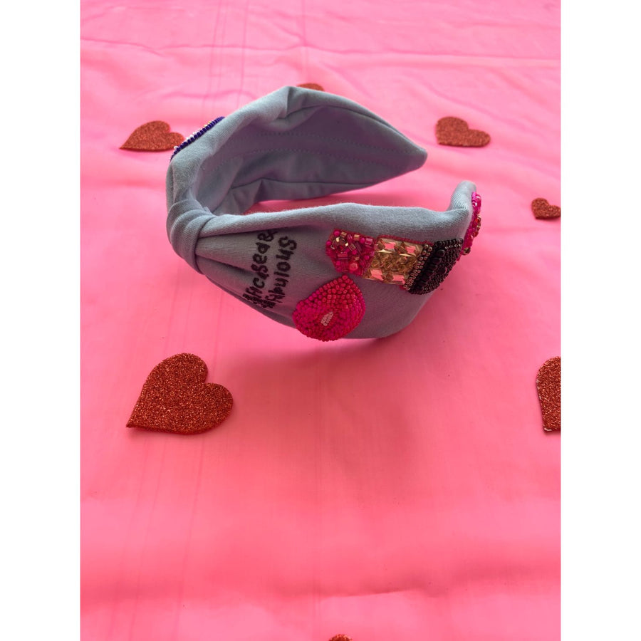 Betty Cooper Headband with Hearts and Tulip Embroidery - Blue