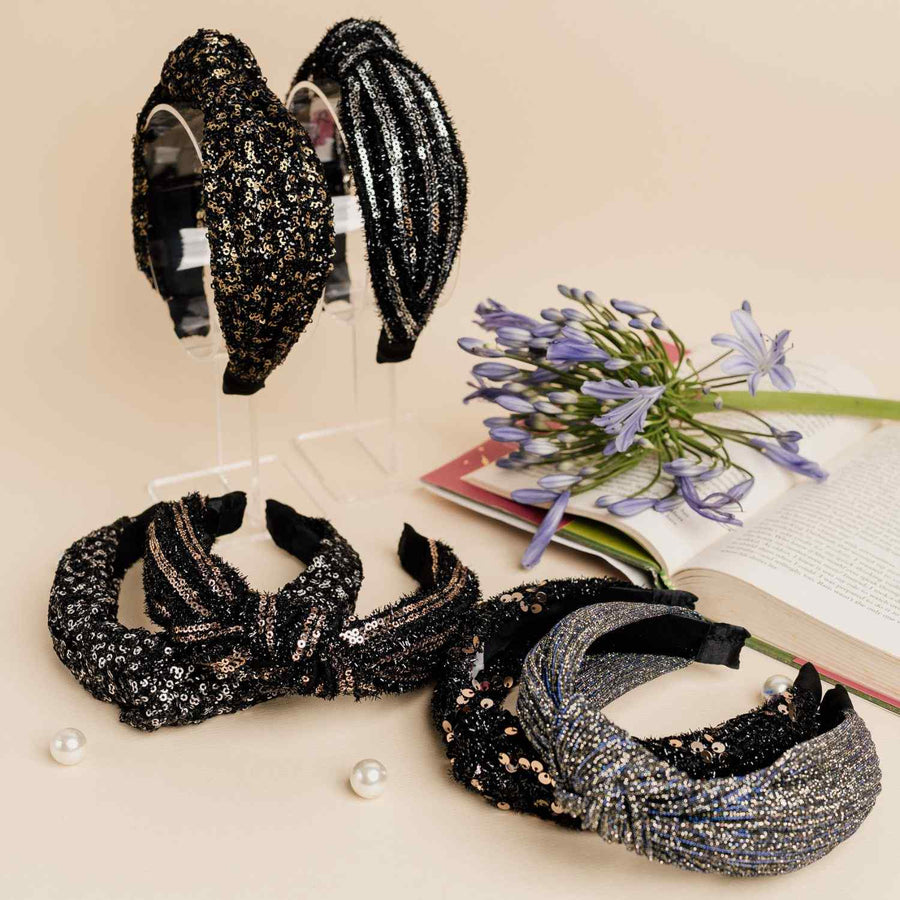 Blair Headband in All Over Intricate Black and Gold Sequins Detail