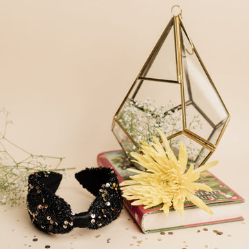 Betty Cooper Headband in Peekaboo Criss Cross Black and Gold Sequins Detail