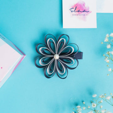 Aria Sunflower Bow - Set of 2 - Navy Blue & White and Pink & Turquoise