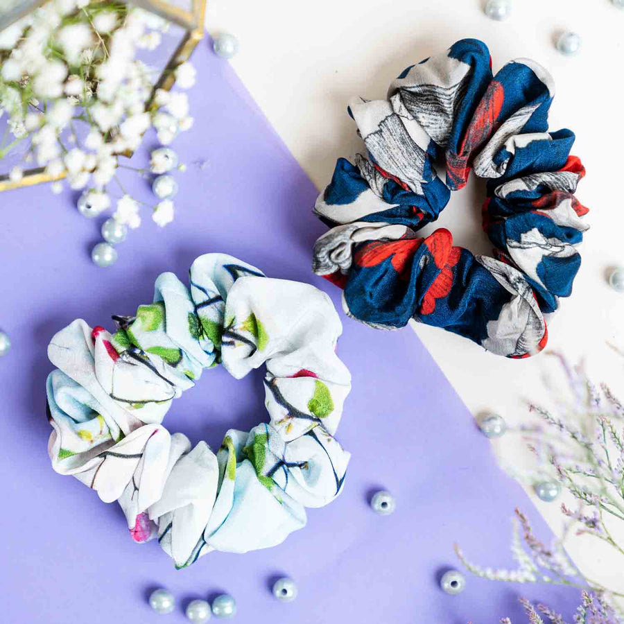 White Icy Bloom Print Crepe and Blue & Grey Leaf Print Crepe - Set of 2 Scrunchies
