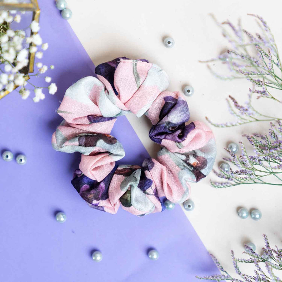 White Icy Bloom Print Crepe and Pink Floral Print Cotton - Set of 2 Scrunchies