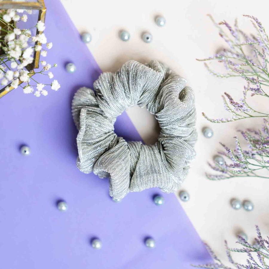 Silver Crepe and Gold Crepe - Set of 2 Scrunchies