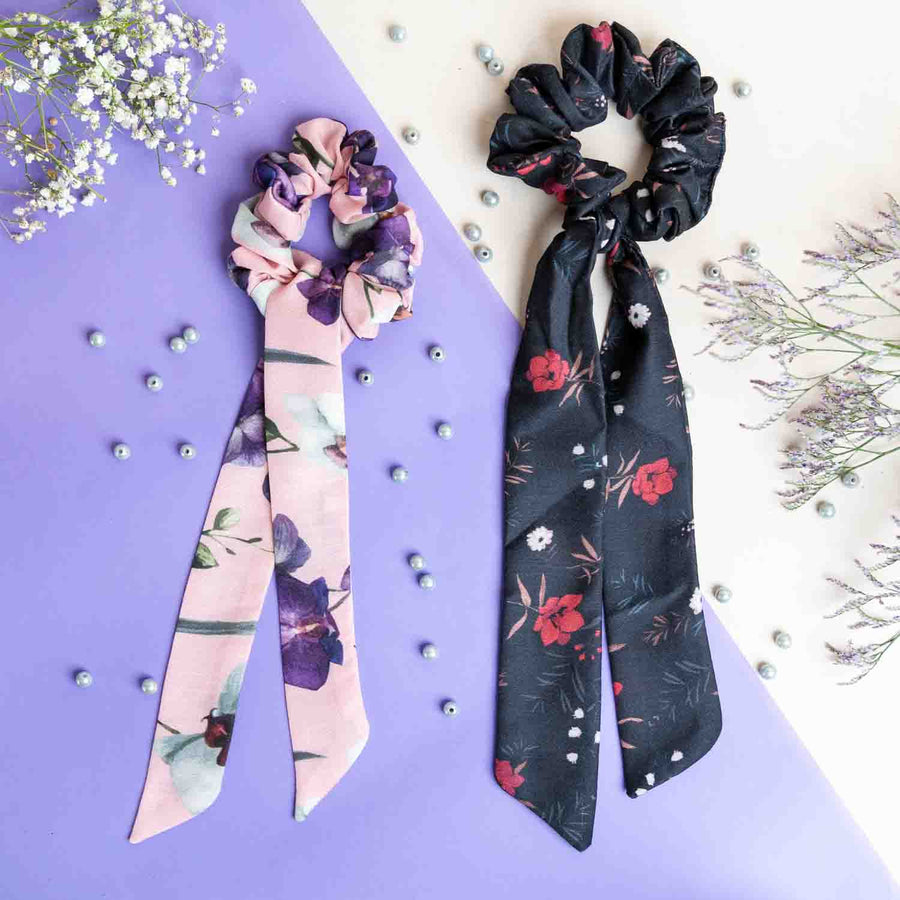 Pink Floral Print Cotton and Black Floral Print Cotton - Set of 2 Scrunchies with Scarf