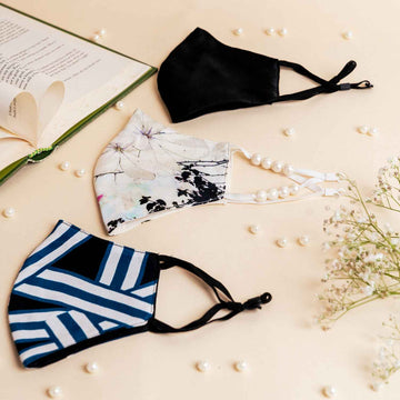 Black & Blue Geometric Print Crepe, White Icy Bloom Print Crepe with Pearls, Black Satin - Set of 3 masks