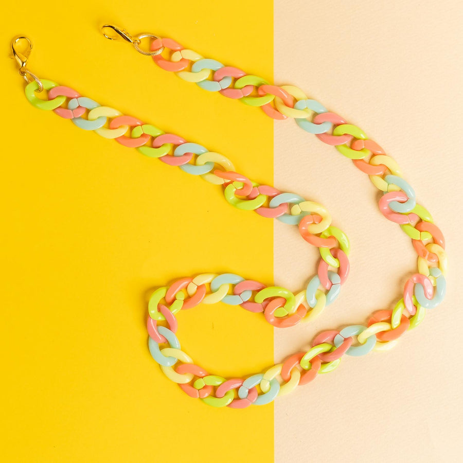 Children's Pastel Hooped Mask Chain - Pink, Blue, Yellow, Peach, Green - 20 inches