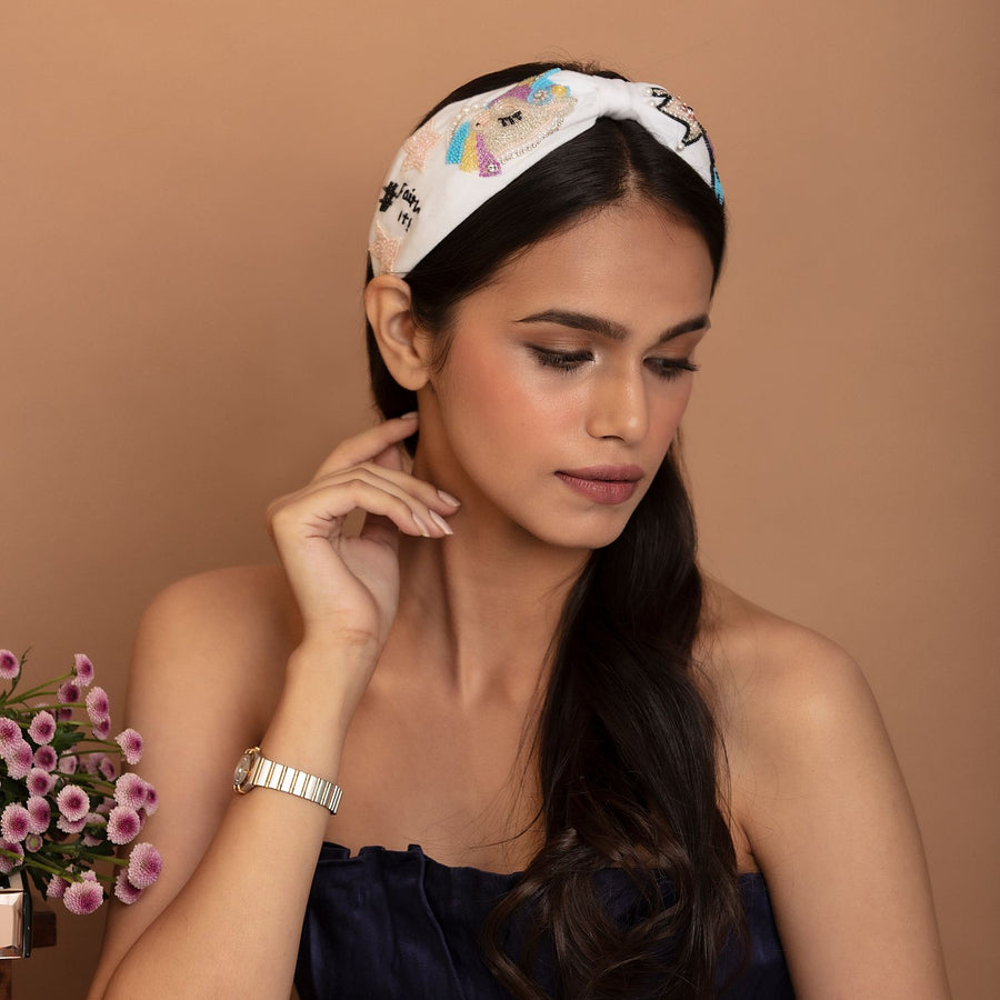 Betty Cooper Headband In White Jersey With Embroidery - Unicorn