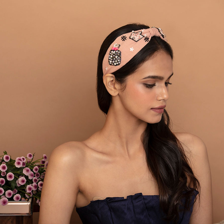 Betty Cooper Headband In Textured Pink Jersey With Embroidery - Perfume