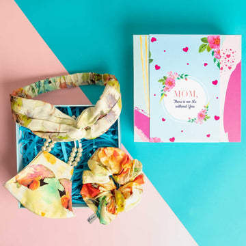 Mother's Day Gift Box - Marvellous Mrs. Maisel Headband in Cream Floral Print Crepe with Matching Mask and Large Scrunchie
