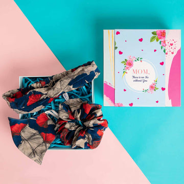 Mother's Day Gift Box - Marvellous Mrs. Maisel Headband in Blue & Grey Leaf Print Crepe with Matching Mask and Large Scrunchie