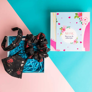 Mother's Day Gift Box - Blair Headband in Black Floral Print Cotton with Matching Mask and Large Scrunchie