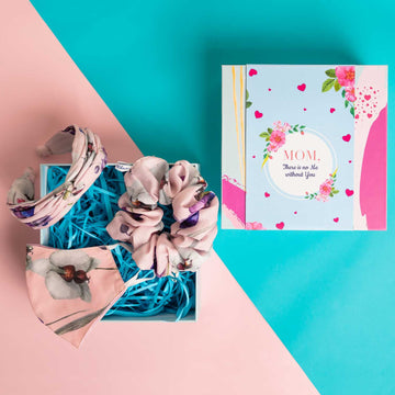 Mother's Day Gift Box - Veronica Headband in Pink Floral Print Cotton with Matching Mask and Large Scrunchie