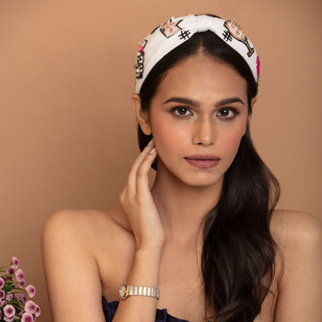 Betty Cooper Headband In White Jersey With Embroidery - Perfume