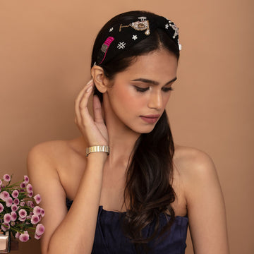 Betty Cooper Headband In Black Jersey With Embroidery - Perfume