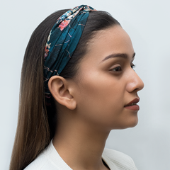 MARVELLOUS MRS. MAISEL HAIRBAND IN TEAL ICY BLOOM GEORGETTE