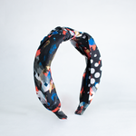 Load image into Gallery viewer, Blair Headband In Abstract Black Print Cotton